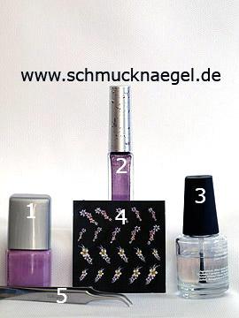 Productos para motivo con pegatina tridimensional de flores - Esmalte, Nail art liner, Autoadhesiva tridimensional