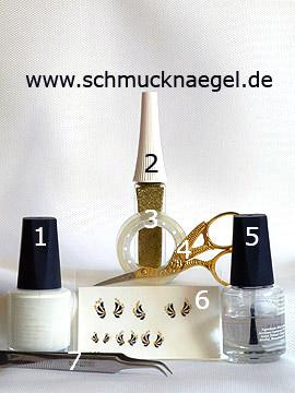 Productos para motivo con pegatina con piedras strass y esmalte en blanco - Esmalte, Nail art liner, Nail sticker