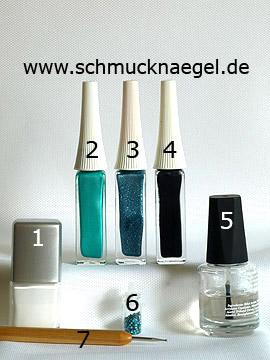 Productos para motivo Pluma de pavo real diseño de uñas - Esmalte, Nail art liner, Lentejuelas, Spot-Swirl