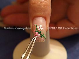 Pegatina de flores y pinzeta