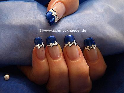 Pajarita con esmalte para manicura francesa diseño