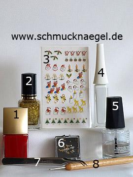 Productos para decoración Navidad con Papá Noel - Esmalte, Nail sticker navidad, Nail art liner, Piedras strass, Spot-Swirl