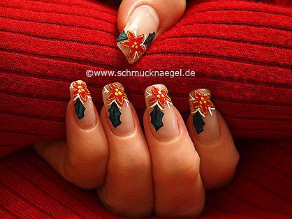 Flor De Nochebuena Decoración De Uñas Diseños De Uñas