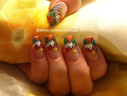 Paisaje decoración de uñas con esmaltes
