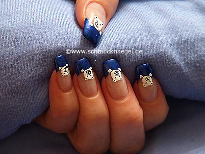 Osito diseño de uñas con esmalte