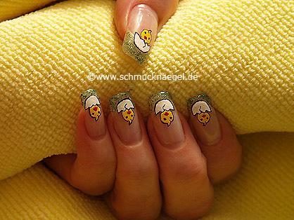 Pollito de Pascua decoración para uñas