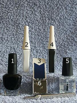 Productos para motivo uñas francesas en negro - Esmalte, Nail art liner, Plantillas manicura francesa, Piedras strass, Esmalte transparente