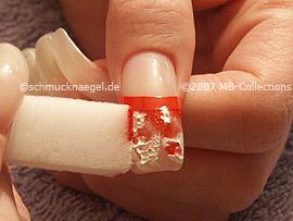 esponja pequeña con la pintura acrílica