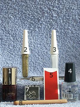 Productos para motivo rojo oscuro glitter en uñas francesas - Plantillas manicura francesa, Esmalte, Nail art liner, Piedras strass, Spot-Swirl, Esmalte transparente