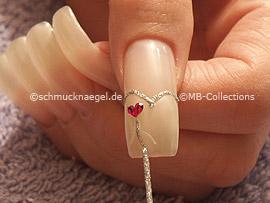 nail art liner de color blanco y plata-glitter