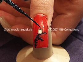 nail art liner en verde oscuro y nail art pens en naranja y blanco