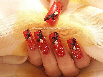Navidad motivo de uñas con esmalte