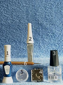 Productos para cielo estrellado diseño de uñas - Nail art pen, Nail art liner, Esmalte transparente, Piedras strass, Spot-Swirl