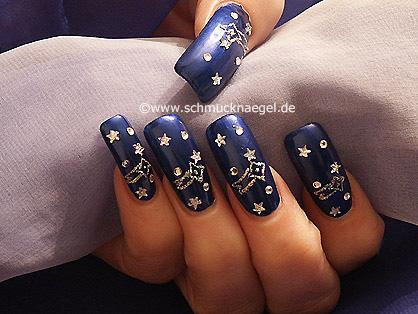 Cielo estrellado diseño de uñas