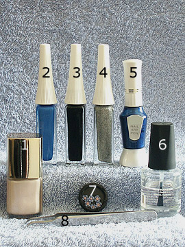 Products for motif with ceramic floret - Nail polish, Ceramic floret, Nail art liner, Nail art pen, Tweezers, Clear nail polish