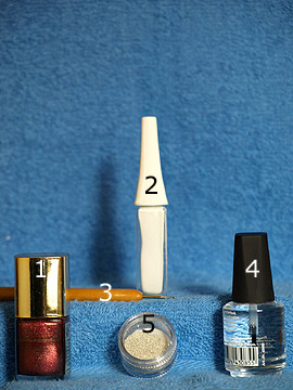 Products for the motif for the nail design tutorial for fingernails - Nail polish, Nail art liner, Spot-Swirl, Clear nail polish, Nail art bouillons