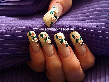Nail art motif with ceramic floret