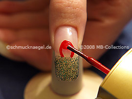 Nail lacquer in the colour red