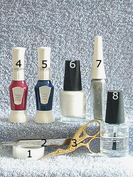 Products for the rhombus design - Nail polish, Nail art pen, Nail art liner, Tweezers, Clear adhesive tape, Clear nail polish