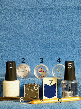 Products for nail art with strass stones in different colours - Nail polish, Strass stones, French manicure templates, Spot-Swirl, Clear nail polish