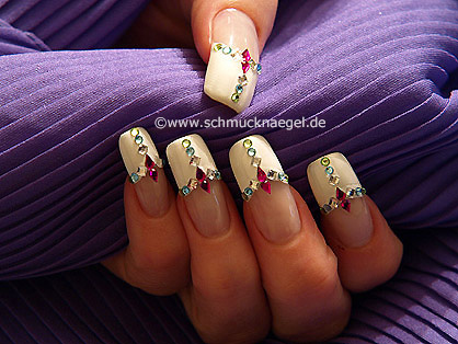 Nail art with strass stones in different colours