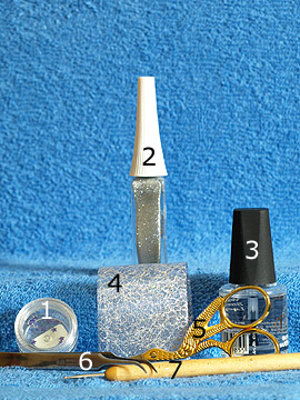 Products for nail design with net lace tulle - Strass stones, Nail art liner, Net lace tulle, Spot-Swirl, Clear nail polish