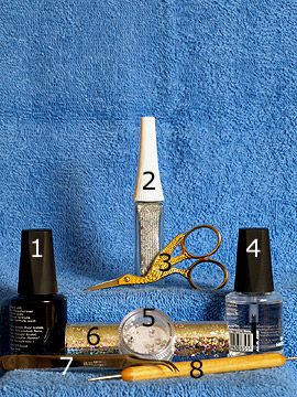Products for motif with hologram foil, nail lacquer and strass stone - Nail polish, Nail art liner, Strass stones, Hologram foil, Spot-Swirl, Clear nail polish