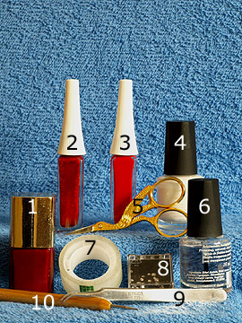 Products for nail decor in red with strass stone - Nail polish, Nail art liner, Strass stones, Spot-Swirl, Clear nail polish