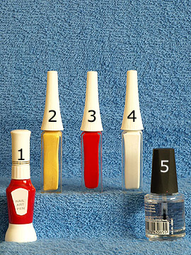 Products for flower motif for the fingernails - Nail art pen, Nail art liner, Clear nail polish