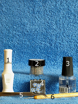 Products for dry flowers for a fingernail motif - Nail art pen, Glitter-Powder, Dry flowers, Spot-Swirl, Clear nail polish