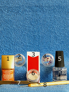 Products for French motif with bouillons and strass stones - Nail polish, Strass stones, French manicure templates, Nail art bouillons, Spot-Swirl, Clear nail polish