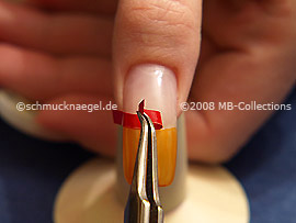 The tweezers and the French manicure template