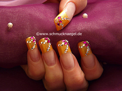 French motif with bouillons and strass stones