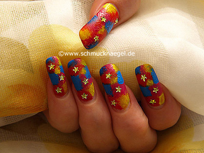 Nail art motif with acrylic and strass stones