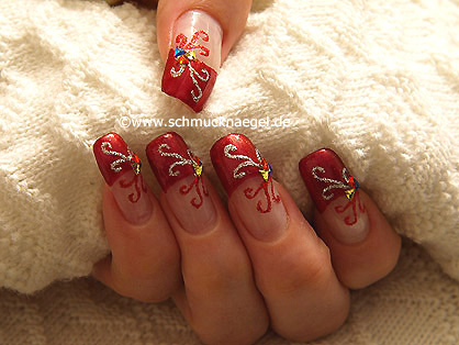 French nails with triangular strass stones