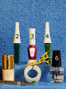 Products for fingernail design step by step - Nail polish, Nail art liner, Nail art pen, Clear nail polish