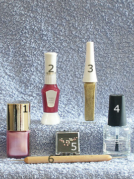 Products for French in pink and lavender - Nail polish, Strass stones, Nail art liner, Spot-Swirl, Clear nail polish