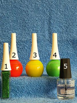 Products for the motif 'Nail polish in neon colours for nail art' - Nail art liner, Nail polish, Clear nail polish