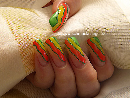 Nail polish in neon colours for nail art