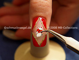 Santa claus christmas sticker and the tweezers