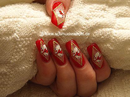 Santa Claus motif for the fingernails