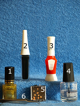 Products for the nail art motif for the new years eve party - Nail polish, Nail art liner, Nail art pen, Fimo fruits