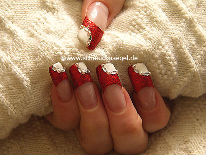 Fingernail motif with nail art liner in red-glitter
