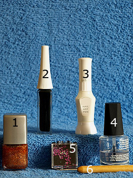 Products for the nail art motif with nail lacquer in copper-glitter - Nail polish, Nail art liner, Nail art pen, Strass stones, Spot-Swirl