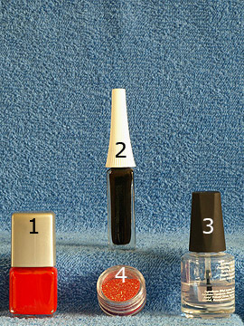 Products for the motif with glitter-powder and nail lacquer in dark orange - Nail polish, Nail art liner, Glitter-Powder
