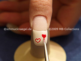 Nail art brush and colour gel in red