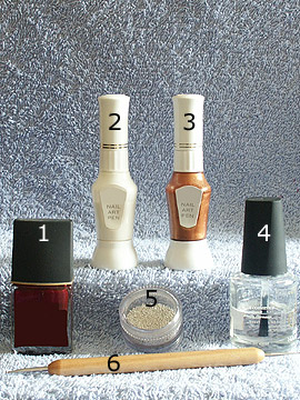 Products for decoration in dark red - Nail polish, Nail art bouillons, Nail art pen, Spot-Swirl, Clear nail polish