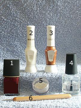 Products for decoration in dark red - Nail polish, Nail art bouillons, Nail art pen, Spot-Swirl, Clear nail polish