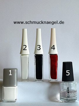 Products for the French motif with nail art liner and nail lacquer - Nail polish, Nail art liner