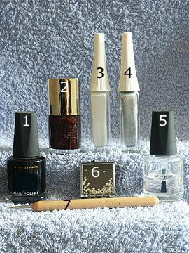 Products for autumn motif - Strass stones, Nail polish, Nail art liner, Spot-Swirl, Clear nail polish